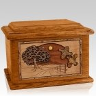 Quail Mahogany Memory Chest Cremation Urn