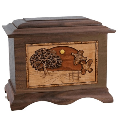 Quail Walnut Cremation Urn