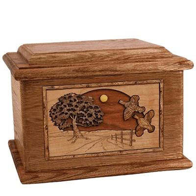 Quail Walnut Memory Chest Cremation Urn