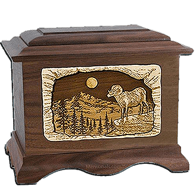 Ram Walnut Cremation Urn For Two