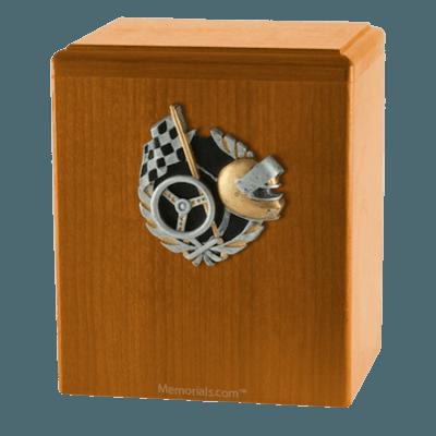 Race Car Oak Cremation Urn