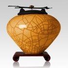 Raku Tangerine Extra Large Cremation Urn