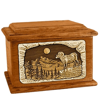 Ram Mahogany Memory Chest Cremation Urn
