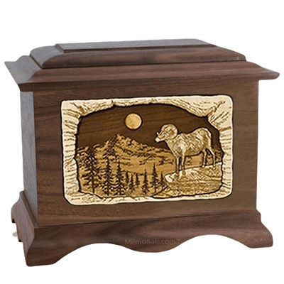 Ram Walnut Cremation Urn