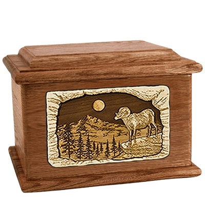 Ram Walnut Memory Chest Cremation Urn