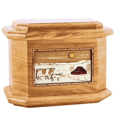 Ranch Oak Octagon Cremation Urn