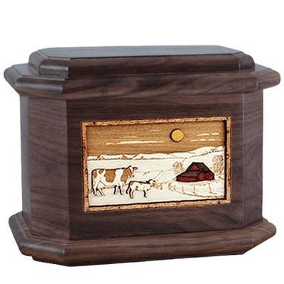 Ranch Walnut Octagon Cremation Urn
