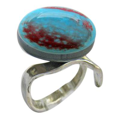 Red Blue Memorial Ashes Ring