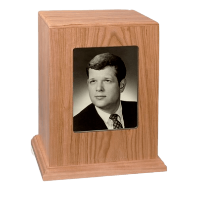 Remember Photo Wood Cremation Urn