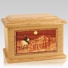 Riding Home Oak Memory Chest Cremation Urn