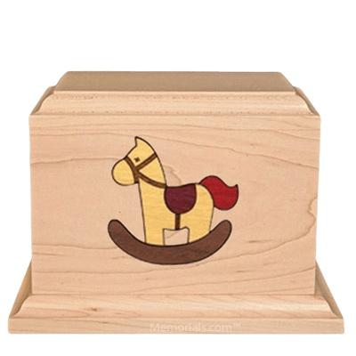Rocking Horse Children Wood Urn