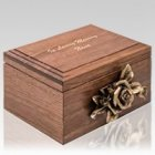 Rose Figurine Wood Cremation Urn