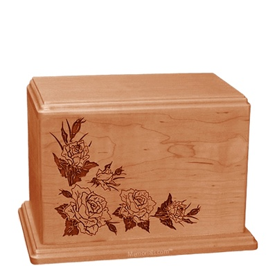 Roses Individual Cherry Wood Urn