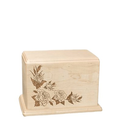 Roses Small Maple Wood Urn