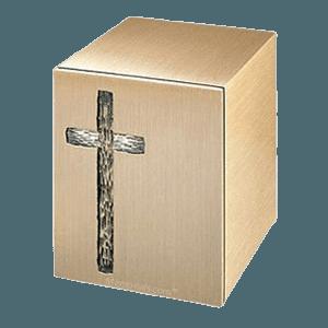 Rugged Cross Bronze Cremation Urn