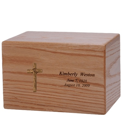 Rugged Cross Wood Cremation Urn