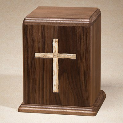Rustic Cross Wood Cremation Urn