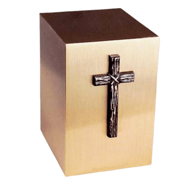 Rustic Cross Bronze Cremation Urn