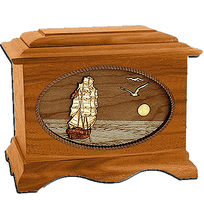 Sailing Home Mahogany Cremation Urn for Two