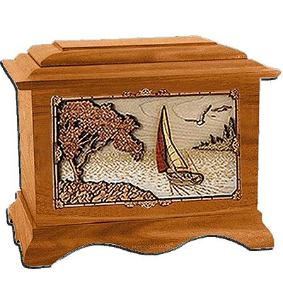Sailing Mahogany Cremation Urn for Two