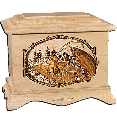 Salmon Stream Maple Cremation Urn for Two