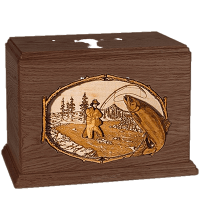 Salmon Stream Walnut Companion Urn