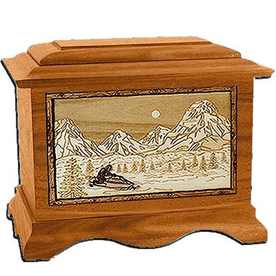 Snowmobile Mahogany Cremation Urn for Two