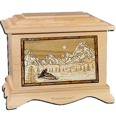 Snowmobile Maple Cremation Urn for Two