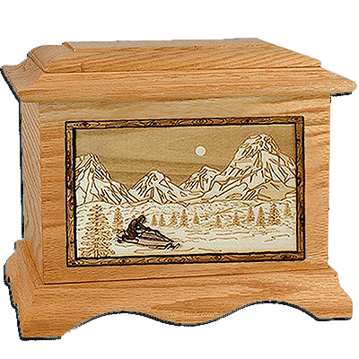 Snowmobile Oak Cremation Urn for Two