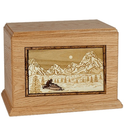 Snowmobile Oak Companion Urn