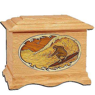 Surfing Oak Cremation Urn for Two