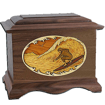 Surfing Walnut Cremation Urn For Two