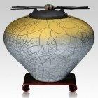 Raku Sage Yellow Cremation Urns