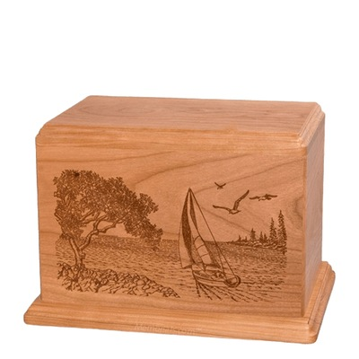 Sail Away Individual Cherry Wood Urn