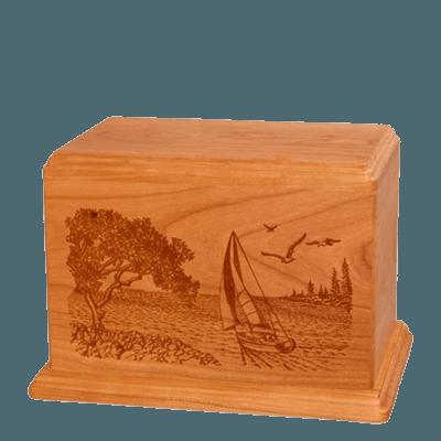 Sail Away Individual Mahogany Wood Urn