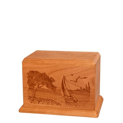 Sail Away Small Mahogany Wood Urn