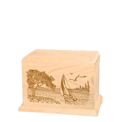 Sail Away Small Maple Wood Urn