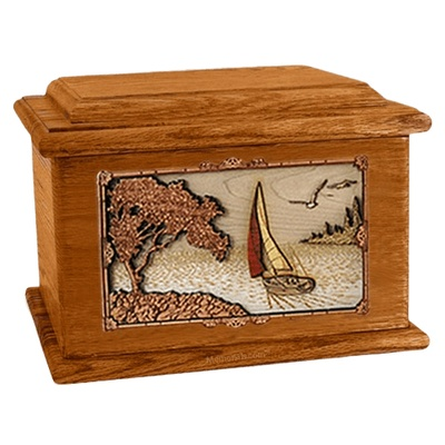 Sailboat Mahogany Memory Chest Cremation Urn