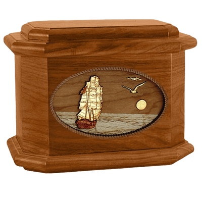 Sailing Home Mahogany Octagon Wood Cremation Urn