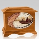Salmon Fishing Mahogany Cremation Urn