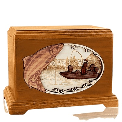 Salmon Fishing Mahogany Hampton Cremation Urn