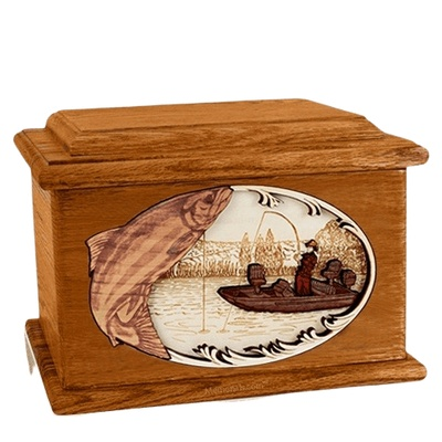Salmon Fishing Mahogany Memory Chest Cremation Urn