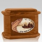 Salmon Fishing Mahogany Octagon Cremation Urn
