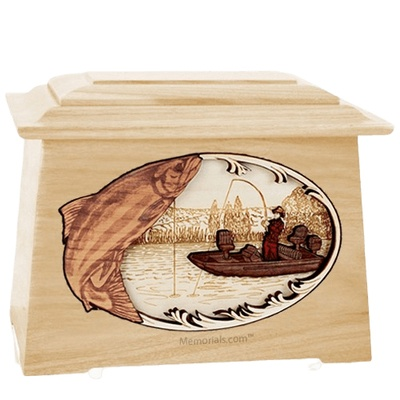 Salmon Fishing Maple Aristocrat Cremation Urn