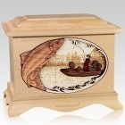 Salmon Fishing Maple Cremation Urn