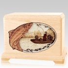 Salmon Fishing Maple Hampton Cremation Urn