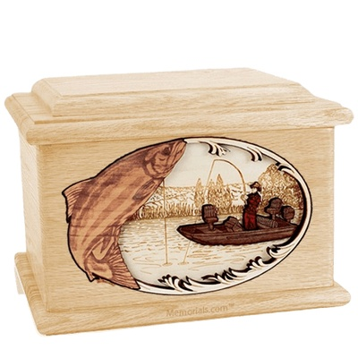Salmon Fishing Maple Memory Chest Cremation Urn