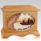 Salmon Fishing Oak Cremation Urn