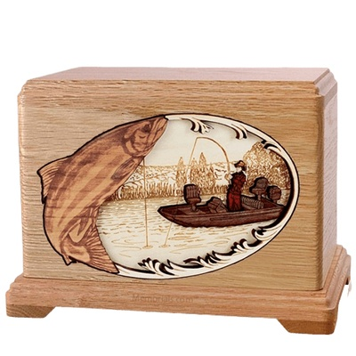 Salmon Fishing Oak Hampton Cremation Urn