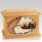 Salmon Fishing Oak Memory Chest Cremation Urn